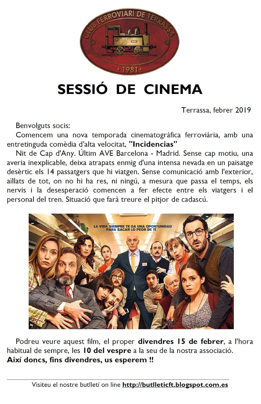 Rectificació: Sessió de cinema. 15-FEB-2019