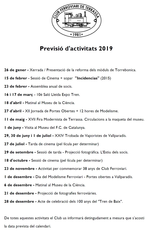 Previsió d'Activitats – Actualització del 7-FEB-2019
