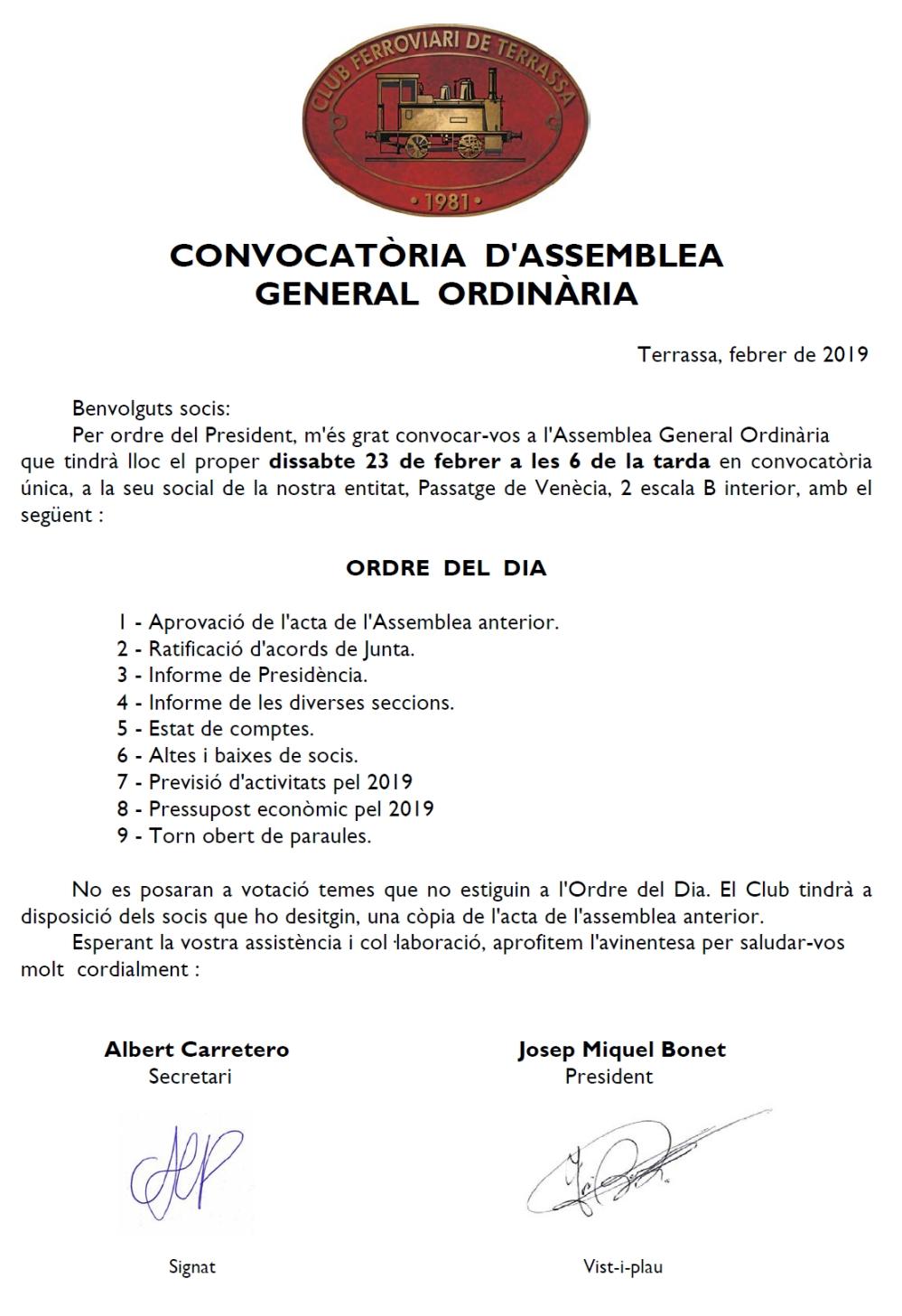 Convocatòria a l'Assamblea General Ordinària del Club Ferroviari de Terrassa.