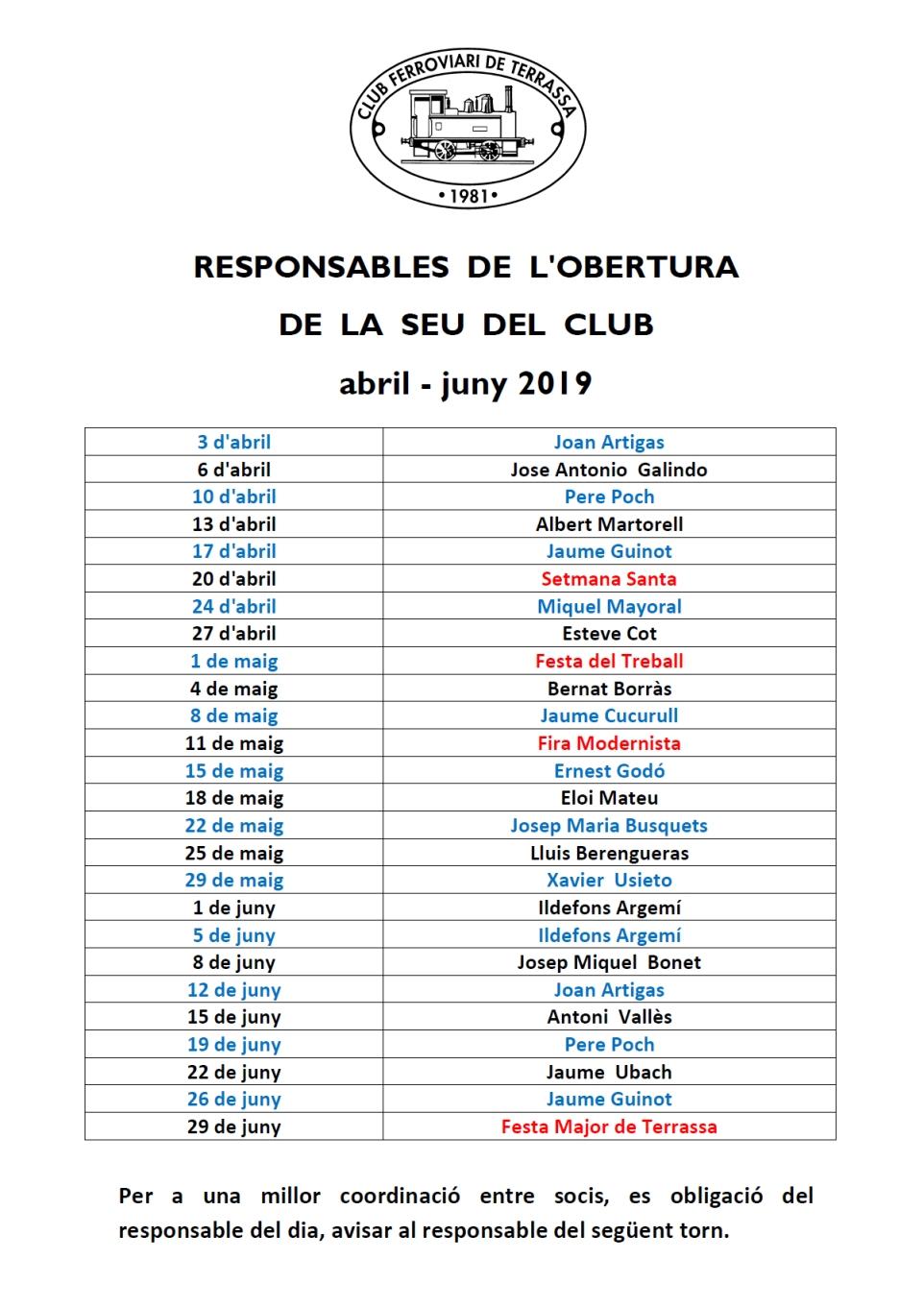 Responsables de l'obertura de la seu social del Club Ferroviari de Terrassa. Abril – Juny 2019