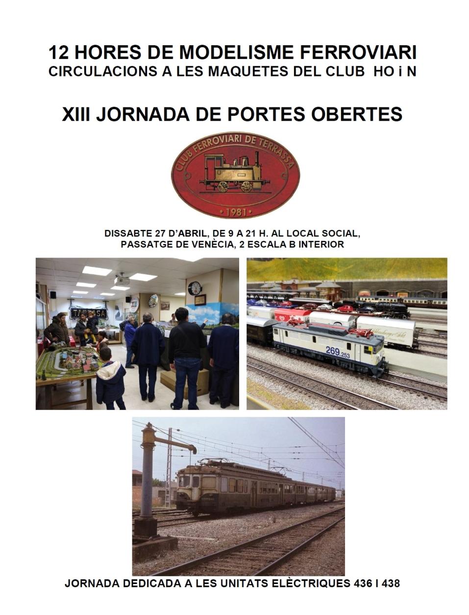 XIII Jornada de Portes Obertes – 12 Hores de modelisme. Club Ferroviari de Terrassa