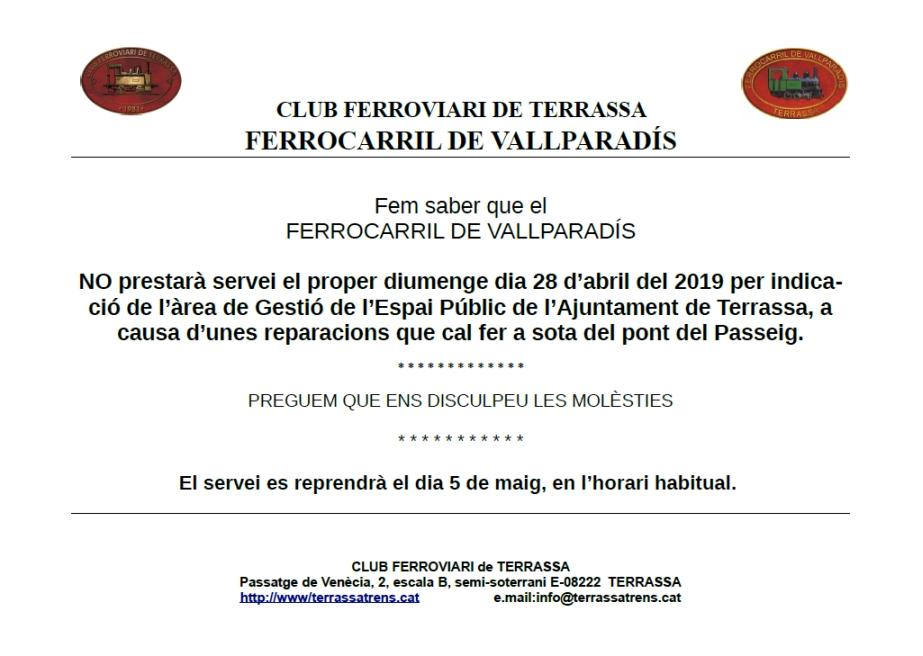 *** Avís de supressió temporal del servei al F.C. de Vallparadís