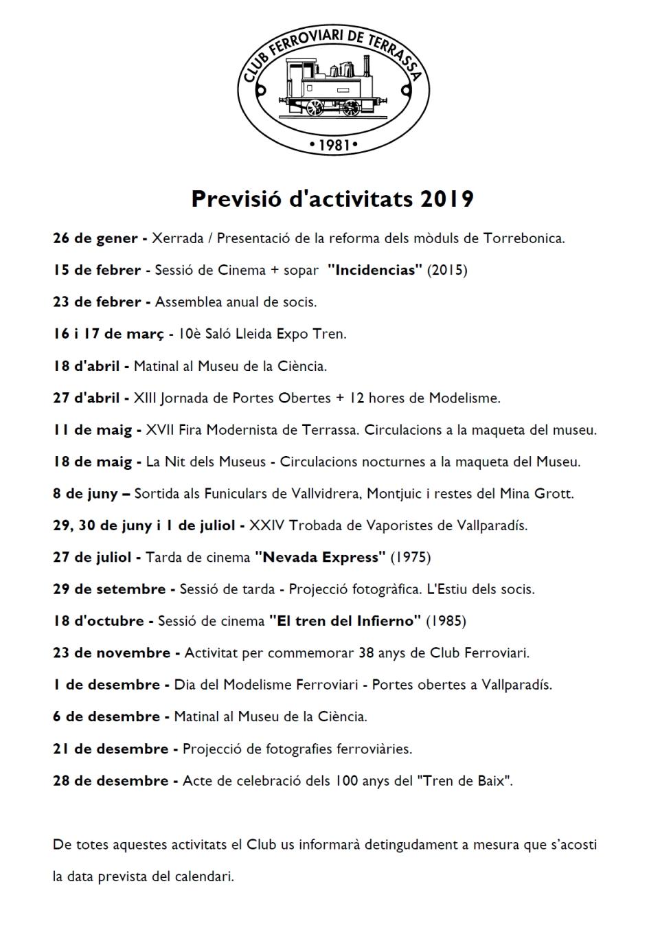 Previsió d'activitats pel 2019. Actualització del 2-MAIG-2019