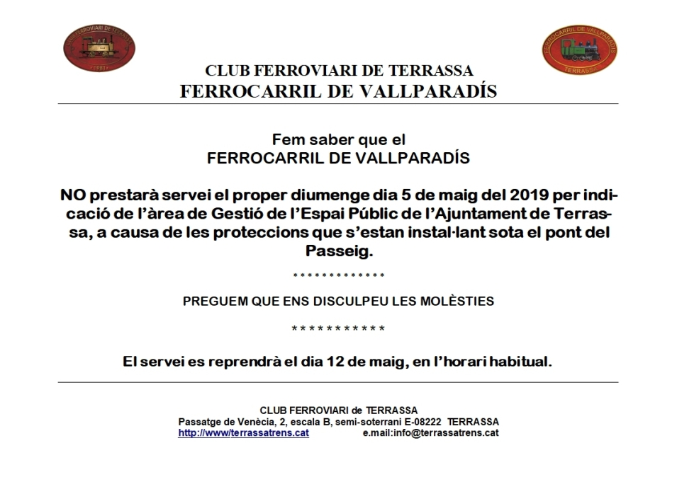*** Nou avís: Pròrroga de la supressió temporal de servei al F.C. de Vallparadís