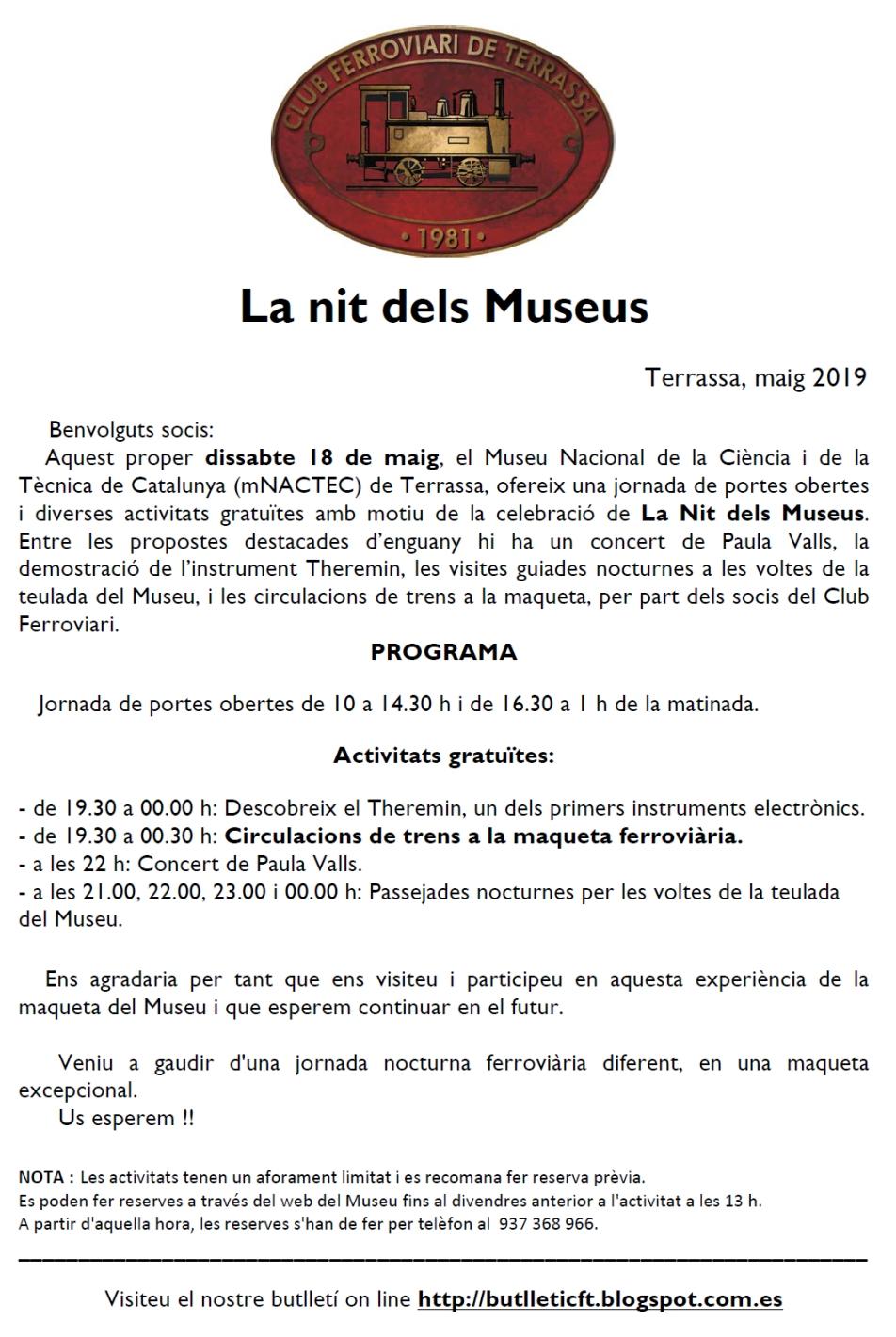 Nit dels Museus 2019: Circulacions a la maqueta del MNACTEC. Club Ferroviari de Terrassa.