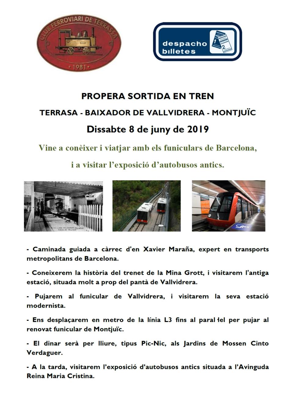Propera Sortida en Tren: Terrassa – Baixador de Vallvidrera – Montjuïc.