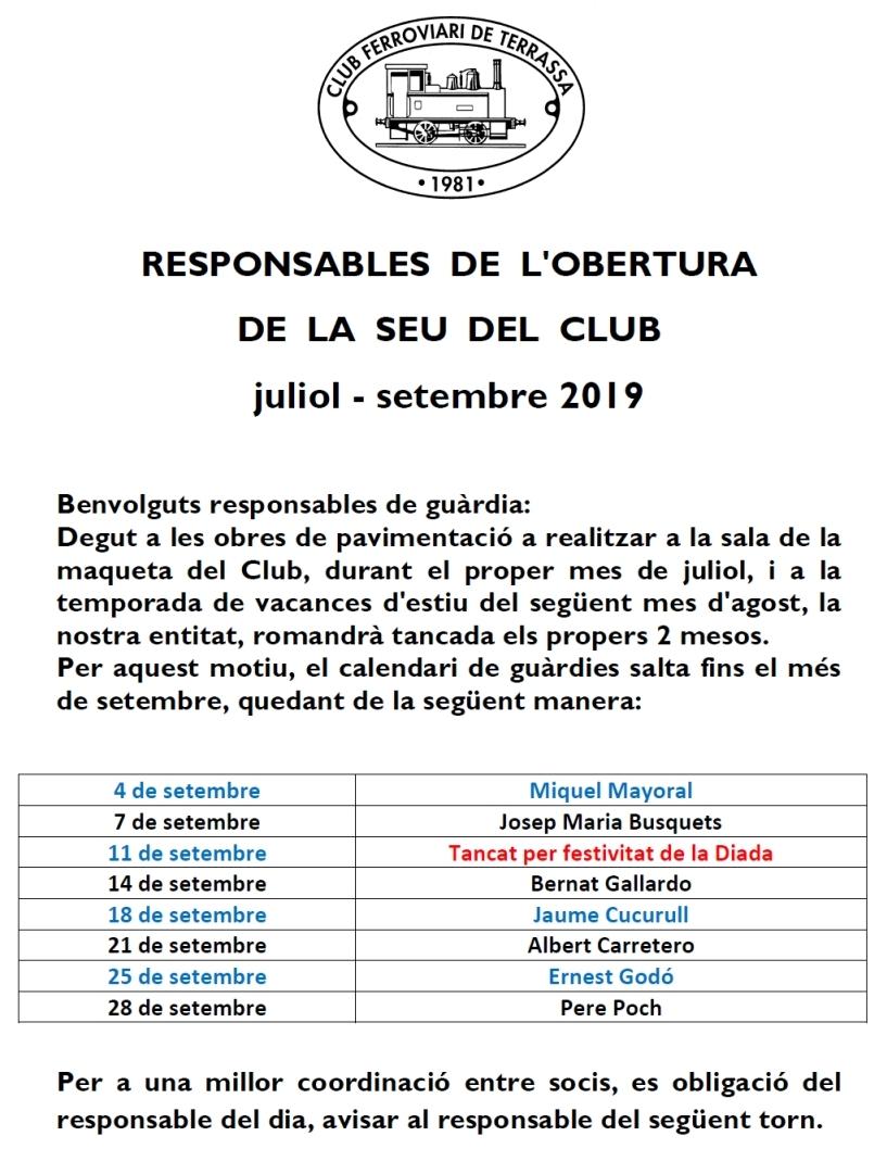 Responsables de l'obertura de la seu del Club Ferroviari de Terrassa. De juliol a setembre del 2019