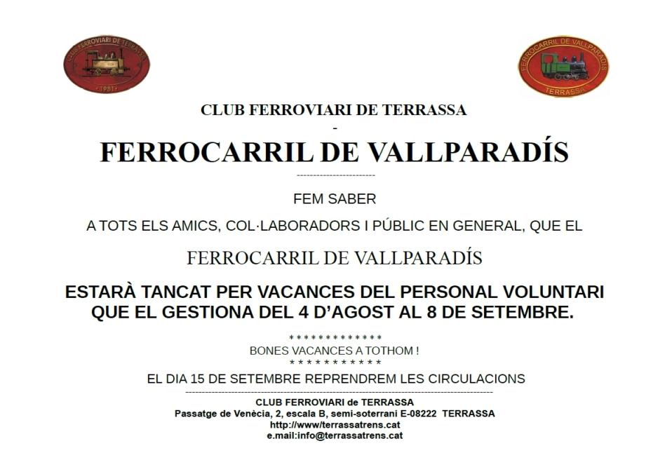Avís de vacances del F.C. de Vallparadís