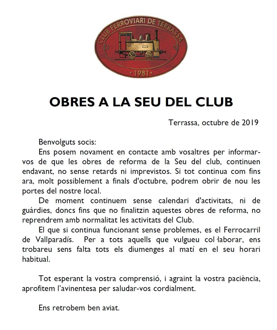 Més informació sobre les obres a la seu del Club Ferroviari de Terrassa