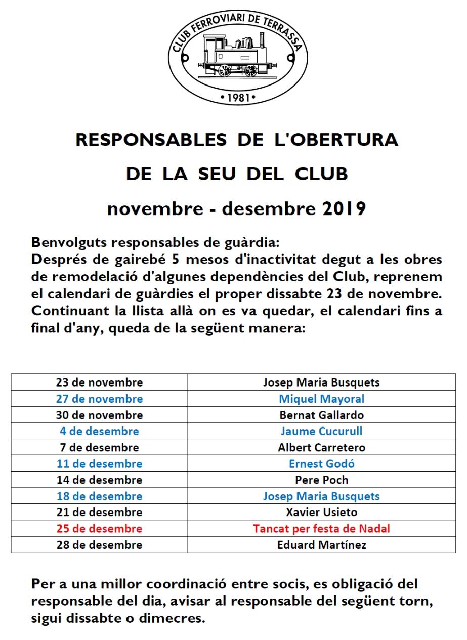 *** Responsables de l'obertura de la seu del Club Ferroviari de Terrassa. Novembre – Desembre del 2019.