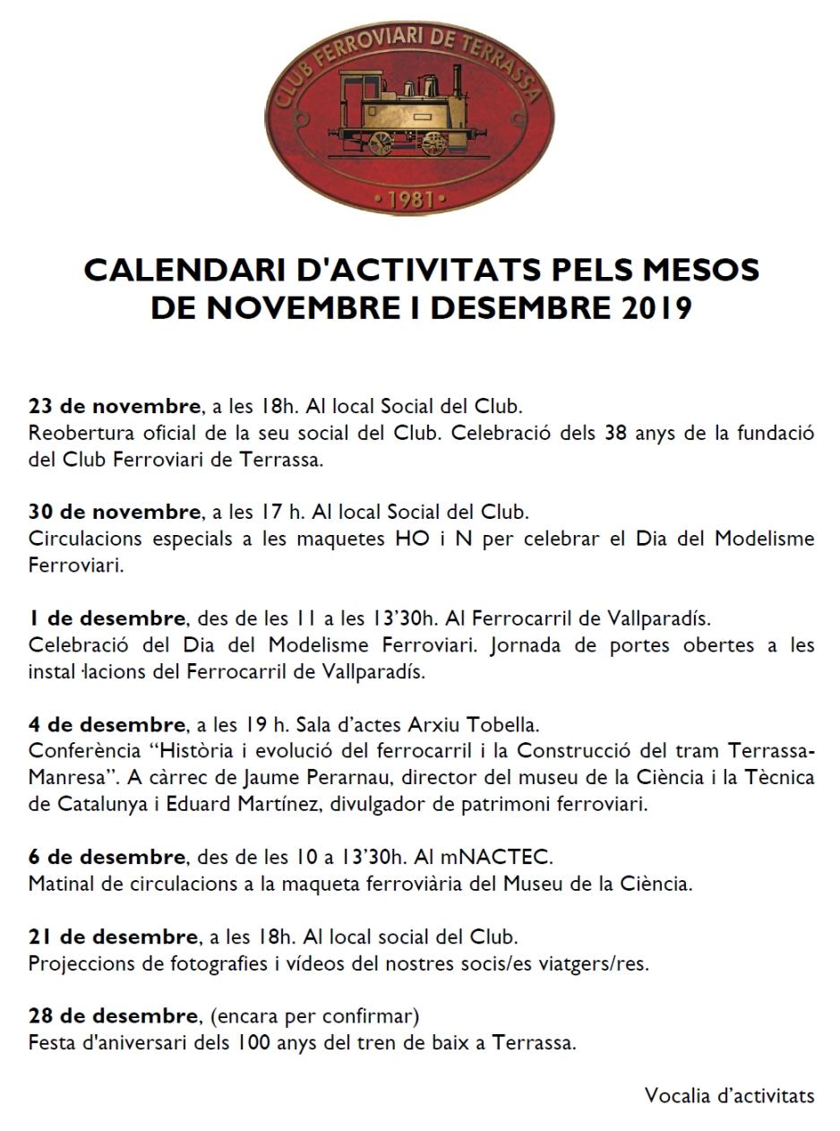 *** Calendari d'activitats pels mesos de novembre i desembre 2019.