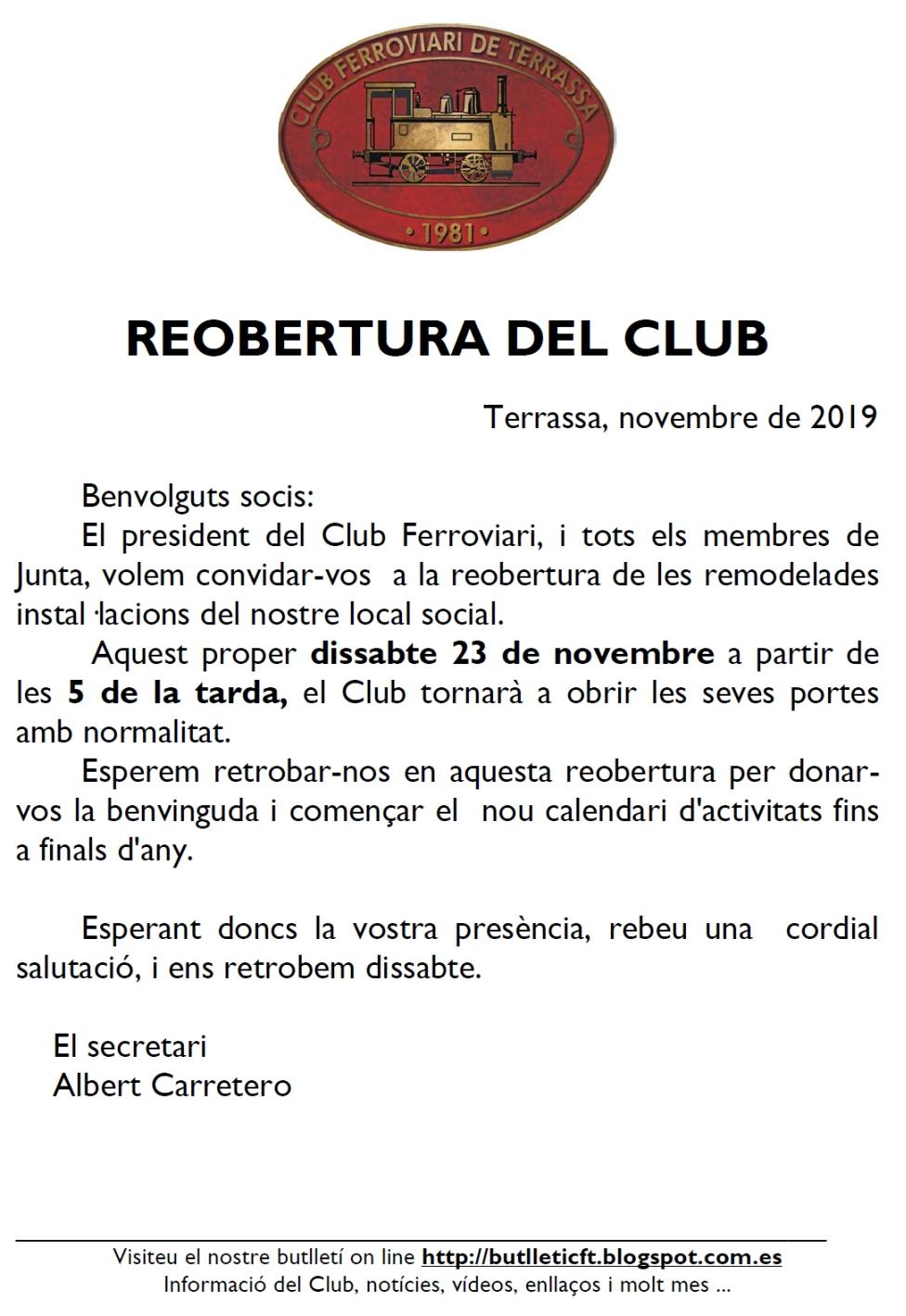 *** Reobertura del local del Club Ferroviari de Terrassa.