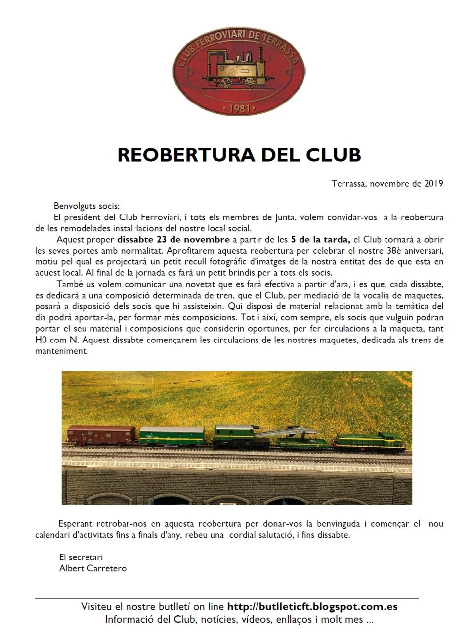 *** Recordatori: Reobertura del local del Club ferroviari de Terrassa