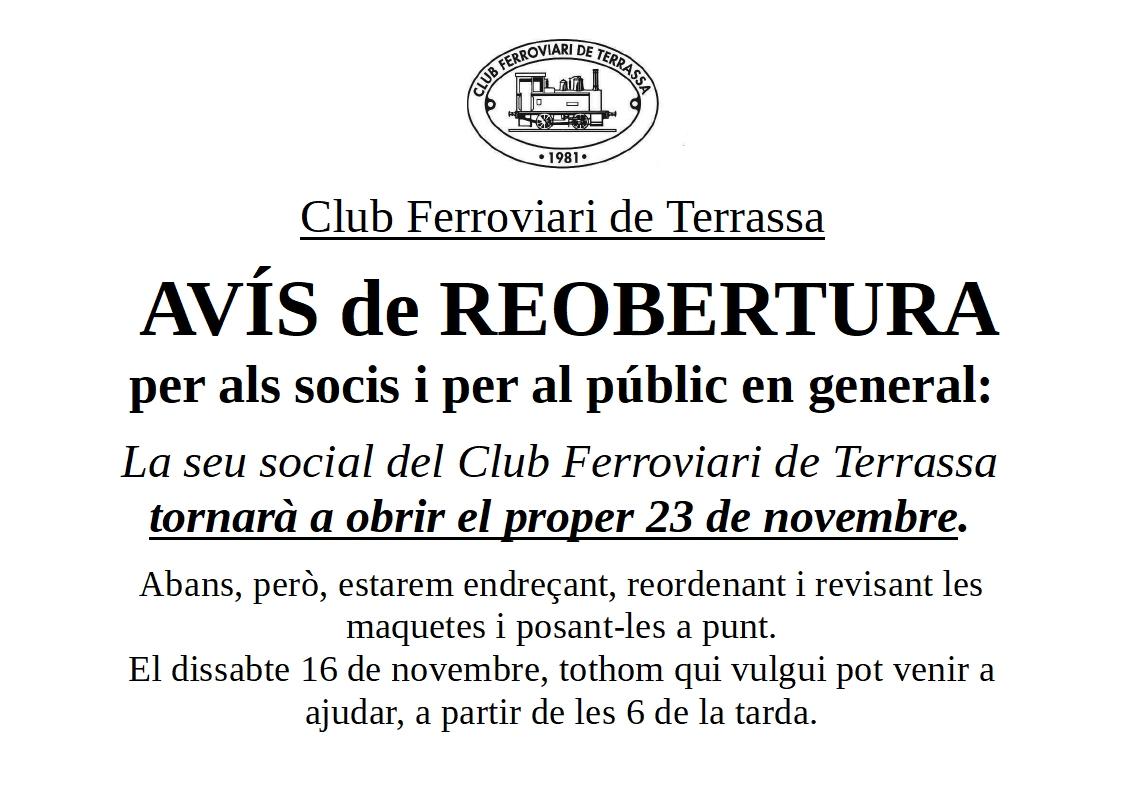 ***** Avís de reobertura del local del Club Ferroviari de Terrassa