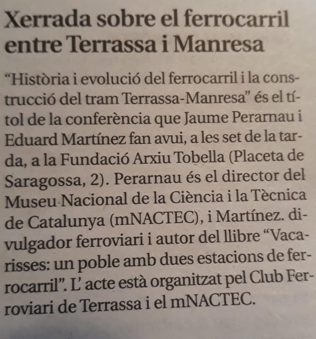Fotografies de la xerrada sobre160 Anys de la inauguració del tram ferroviari entre Terrassa i Manresa. 4-DES-2019.  Edu Martínez