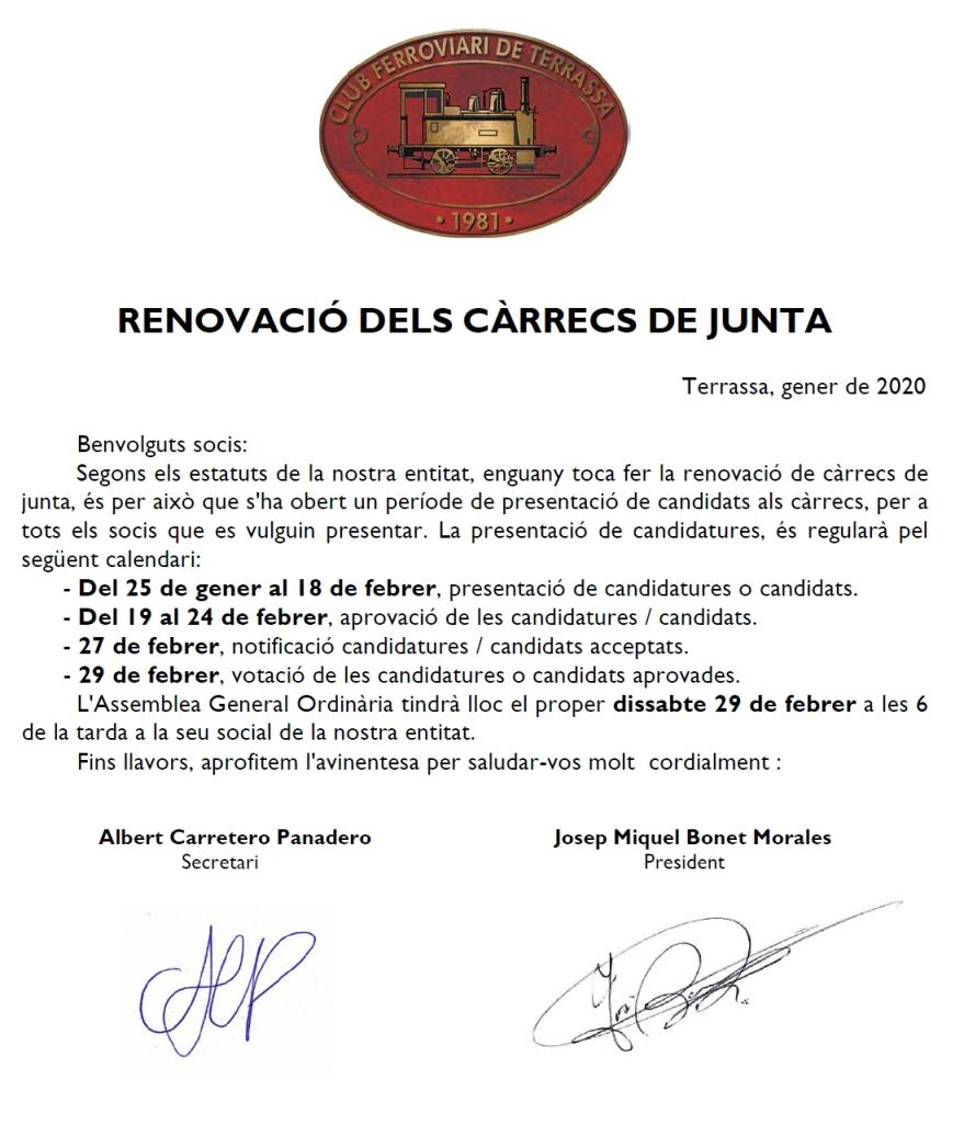 **** Renovació dels càrrecs de la  Junta.