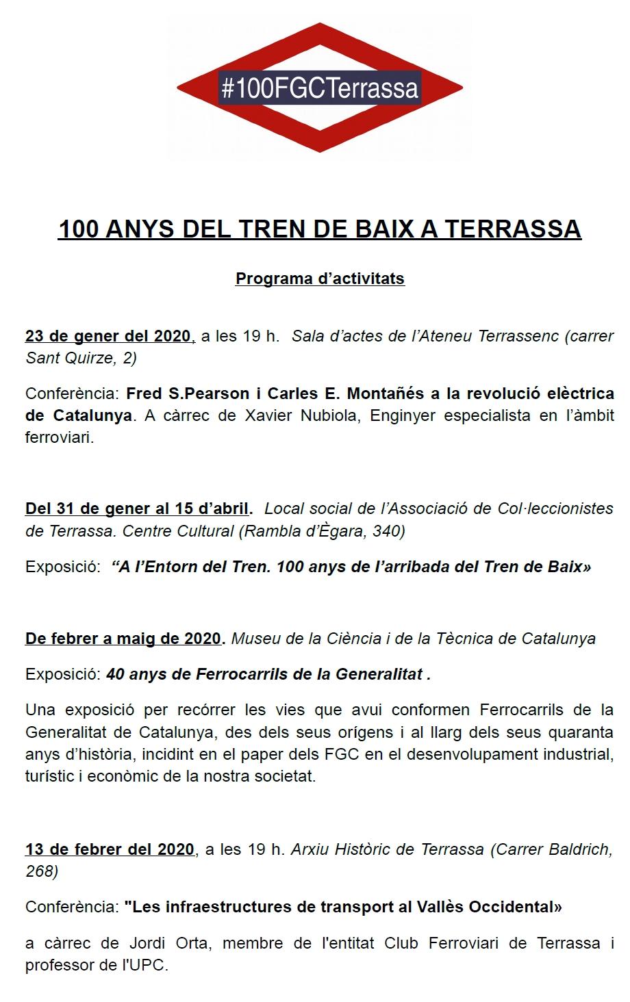 """100 Anys del """"Tren de Baix"""" a Terrassa. Programa d'activitats. Part 1: Conferències i Exposicions"""