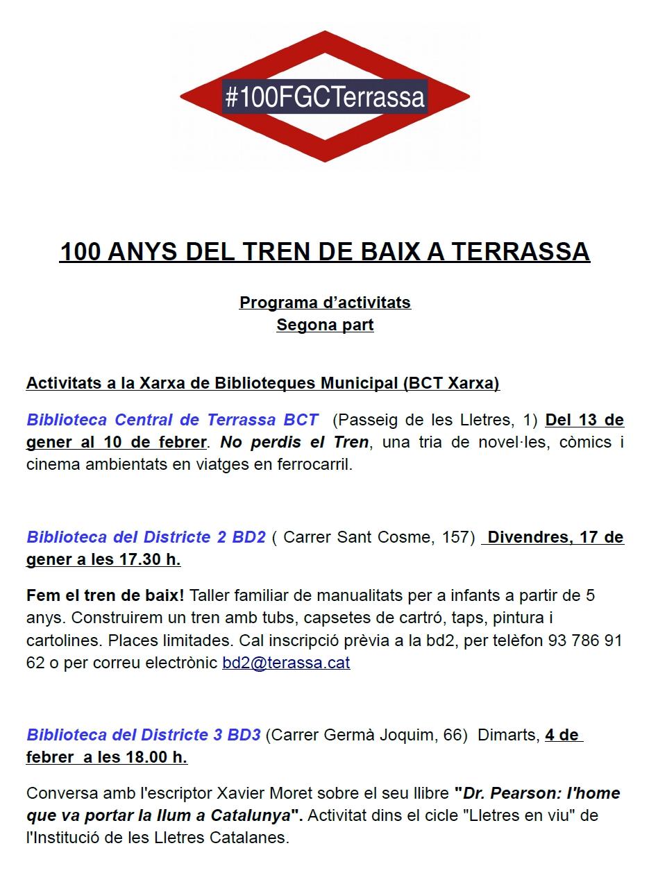 """100 Anys del """"Tren de Baix"""" a Terrassa. Programa d'activitats. Part 2: Activitat a la xarxa de Biblioteques Municipals"""
