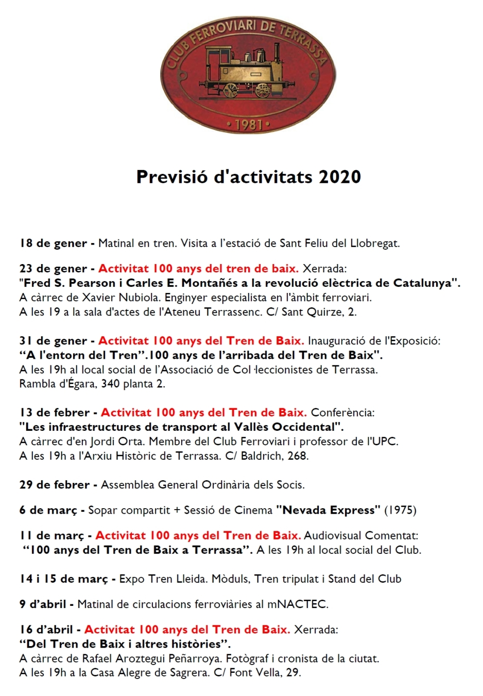 Previsió d'Activitats pel 2020. Vocalia d'Activitats. 3-FEB-2020
