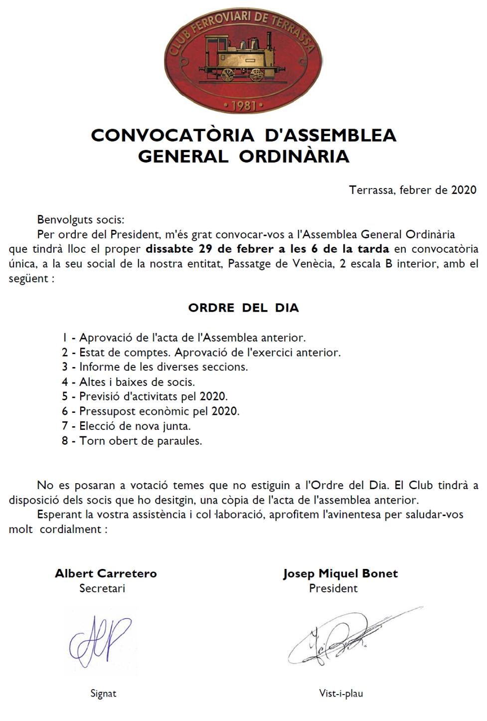 ***** Convocatòria d'Assemblea General Ordinària. Club Ferroviari de Terrassa
