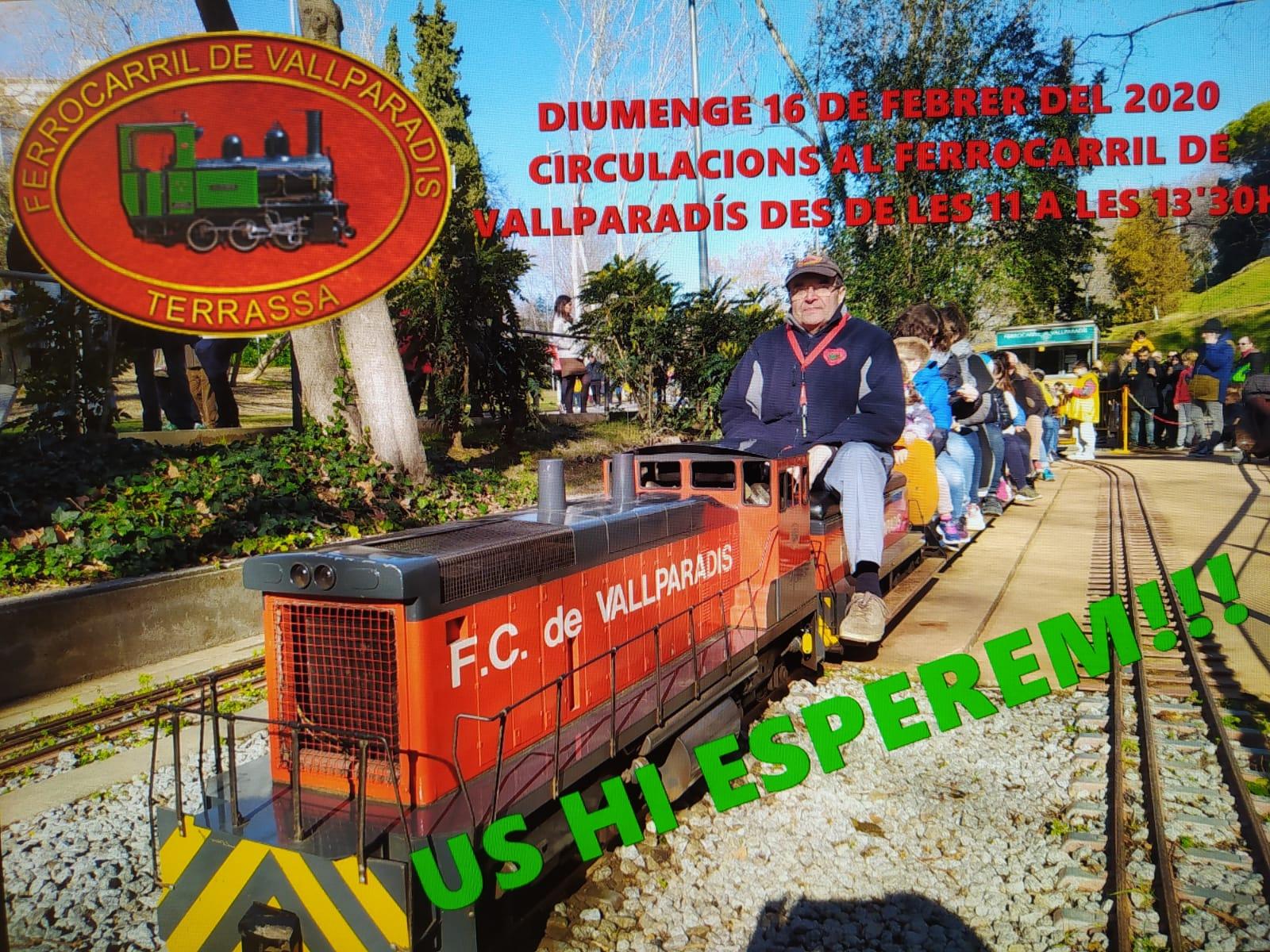 Recordatori de la Junta. Vocalia d'Activitats. Circulacions al Tren de Vallparadís. 16-FEB-2020