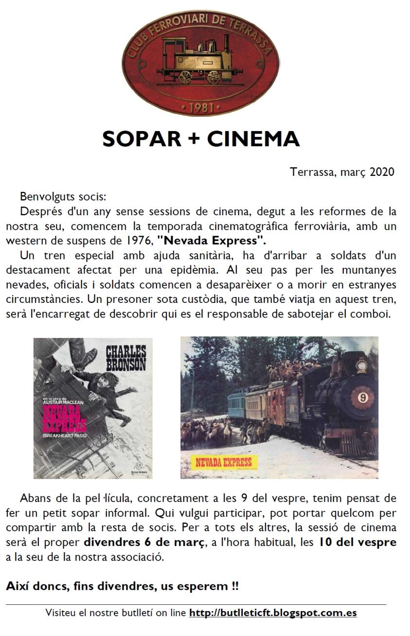 SOPAR + CINEMA. 6-MAR-2020