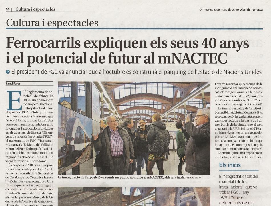 """Inauguració de l'exposició """"40 Anys compromesos i preparats per al futur"""", al MNACTEC. Videu i Diari de Terrassa"""