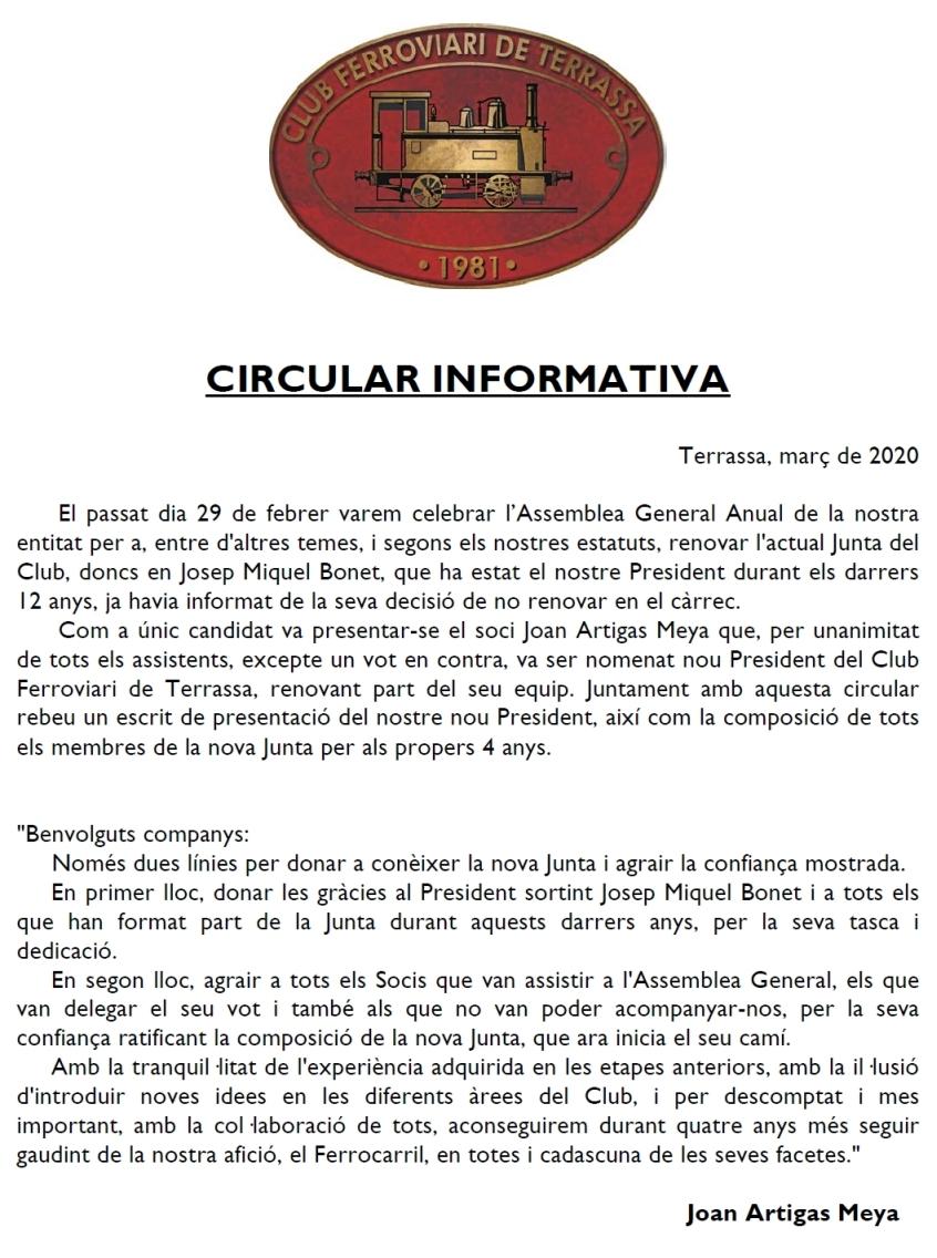 Nova Junta de Govern. Escrit de presentació del nou President