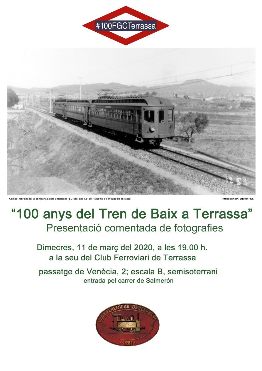 """Presentació comentada de fotografies sobre el Centenari del """"Tren de Baix"""""""