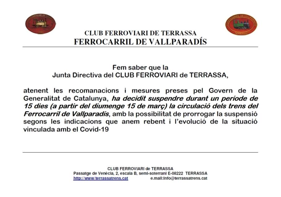 ***** Avís: Suspensió de circulacions al Tren de Vallparadís. Junta de Govern