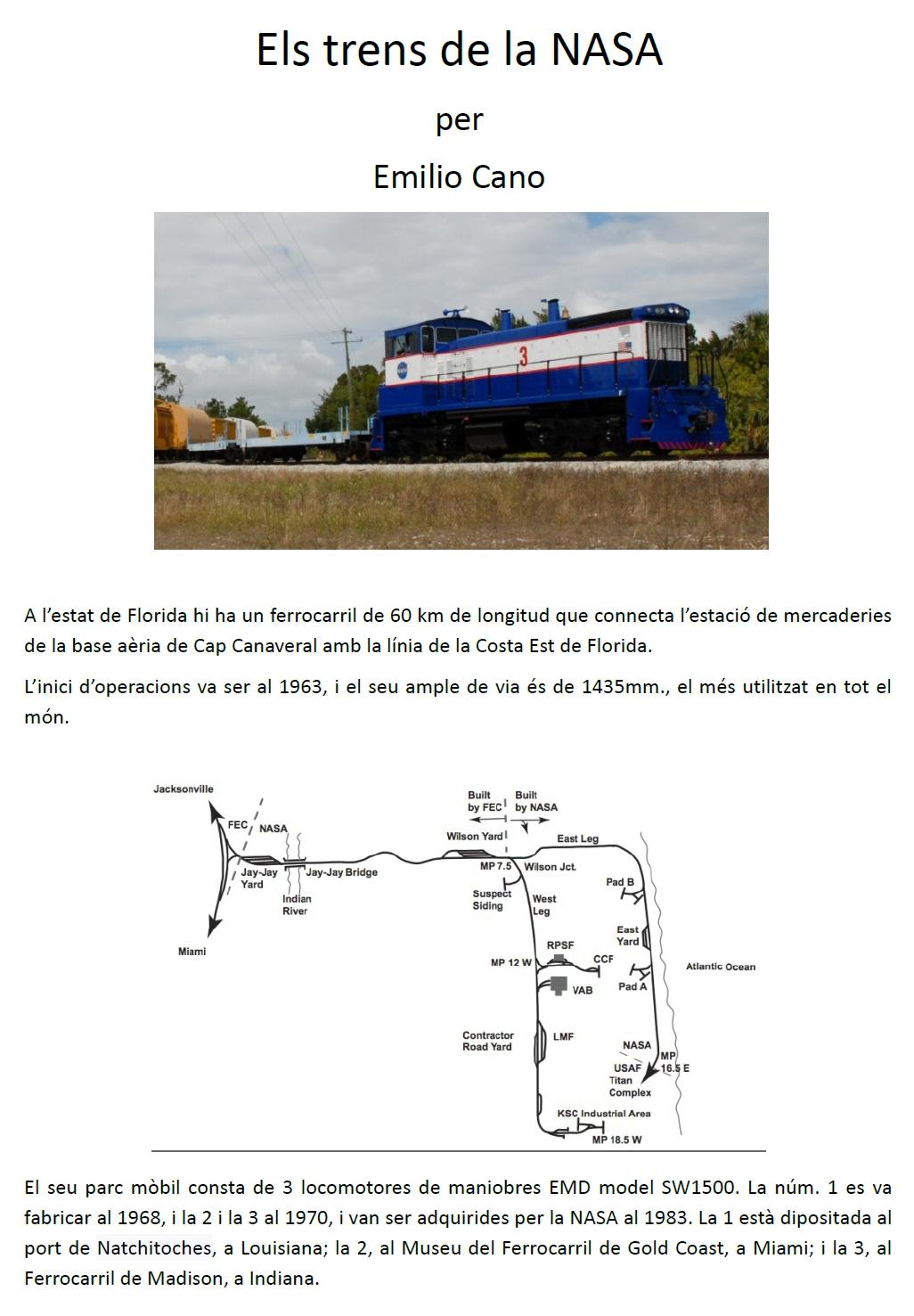 Els trens de la NASA. Emilio Cano
