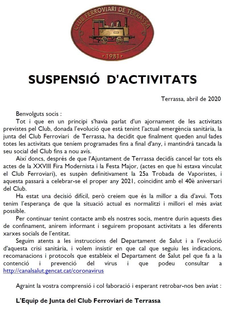*** Suspensió d'activitats. Junta de Govern