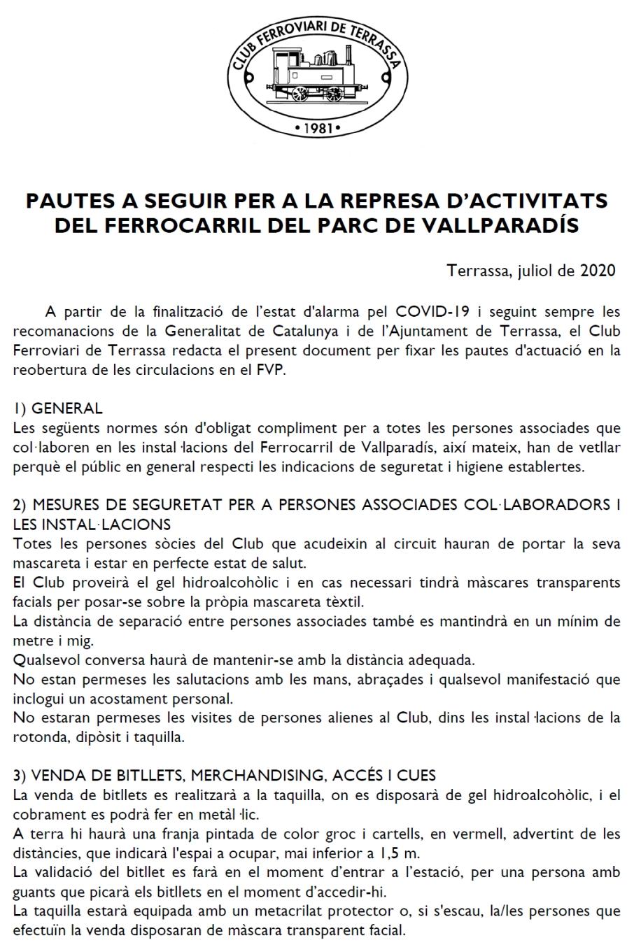 ***** El retorn:  Pautes de seguretat a la seu social i al F.C. de Vallparadís. Club Ferroviari de Terrassa