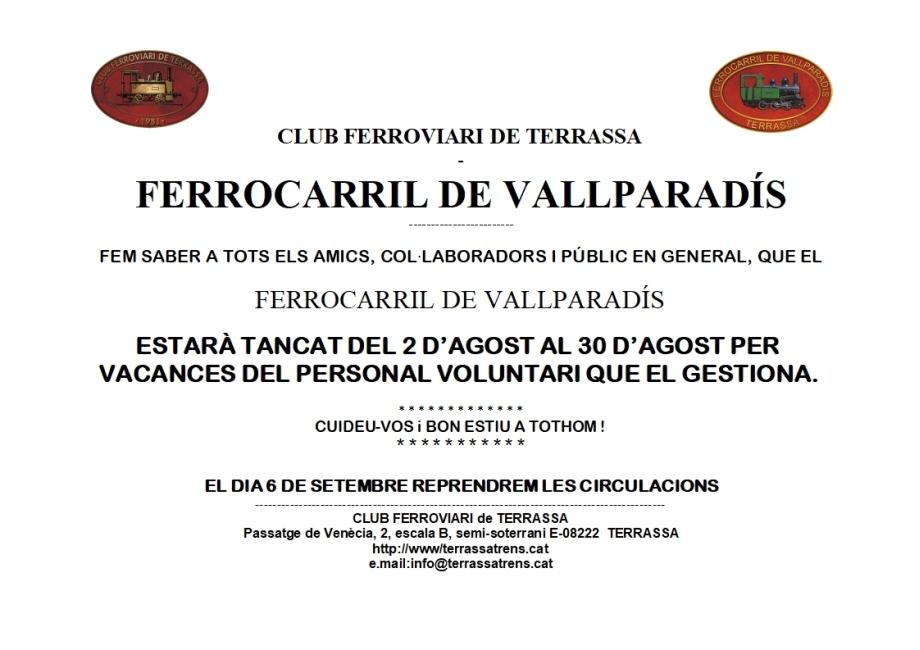 Avís: el F.C. de Vallparadís tanca per vacances