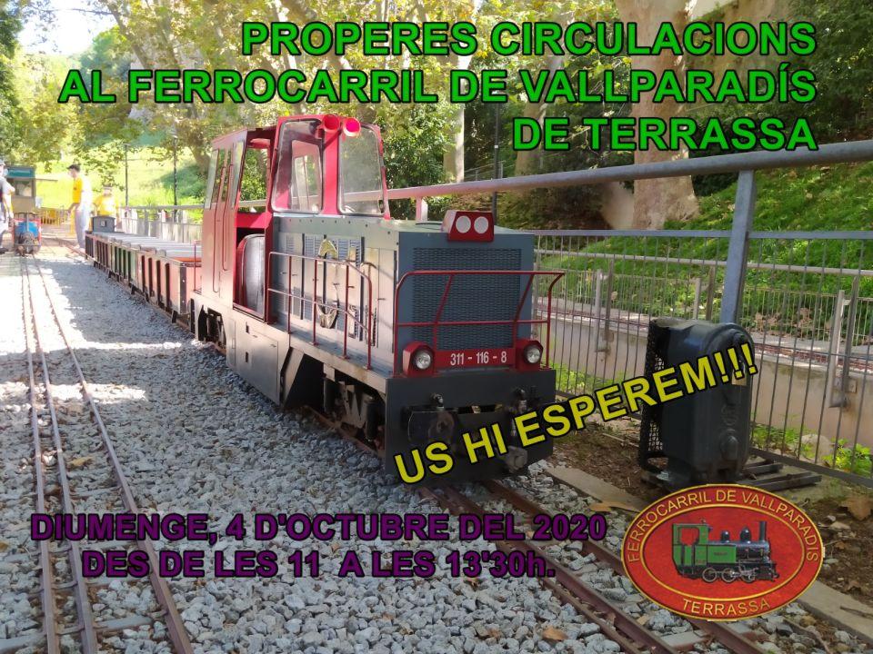 Tren de Vallpardís. Circulacions el diumenge 4-OCT-2020.