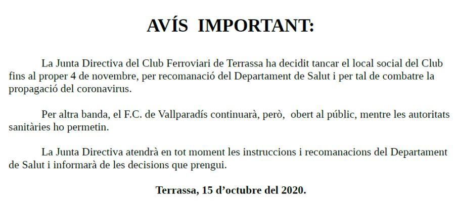 AVÍS IMPORTANT – 15-OCT-2020