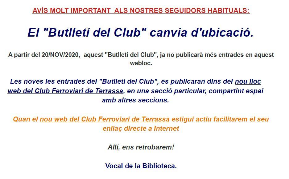 """""""Butlletí del Club"""":Avís iomportant del vocal de la Biblioteca."""